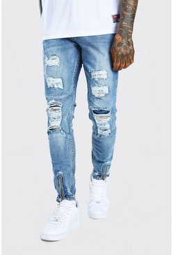 Mid blue blue Super Skinny All Over Distressed Jeans