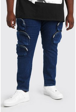 Blue Plus Size Skinny Jean With Zip Cargo Pockets