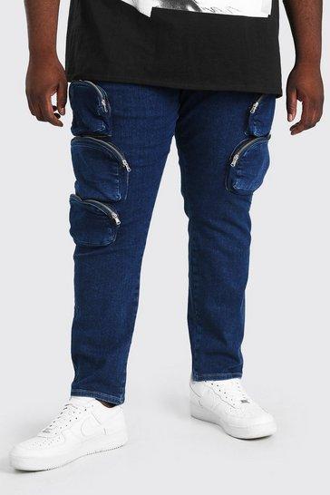 Blue Plus Size Skinny Jean With Zip Cargo Pockets