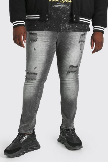 Washed black Plus Size Super Skinny Multi Rip Jean