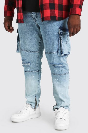 Ice blue Plus Size Skinny Cargo Jean With Paint