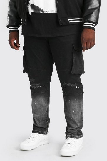 Black Plus Size Skinny Cargo Jean With Paint