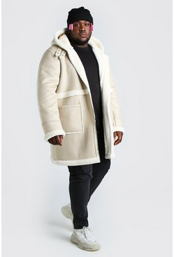 Cream Plus Size Leather Look Longline Aviator