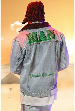 Ice blue Burna Boy Borg Collar Denim Jacket With Badges