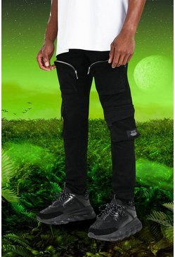 Black svart Burna Boy Skinny Fit Denim Cargo Jean