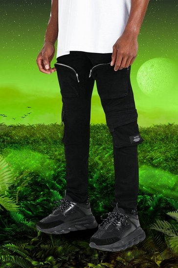 Black Burna Boy Skinny Fit Denim Cargo Jean