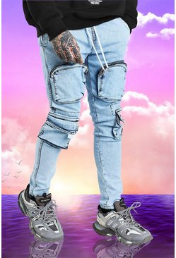 Washed blue blue Burna Boy Skinny Fit Denim Cargo Jean
