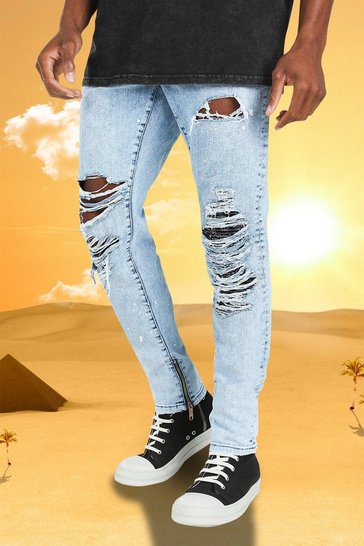 Ice blue Burna Boy Super Skinny Fit Rip And Repair Jean