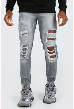 Grey Super Skinny All Over Distressed Jeans