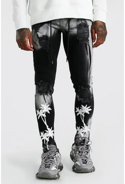 Black Super Skinny Bleached Distressed Palm Print Jeans