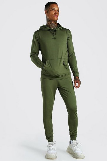 Khaki MAN Muscle Fit Poly Hooded Tracksuit With Zips