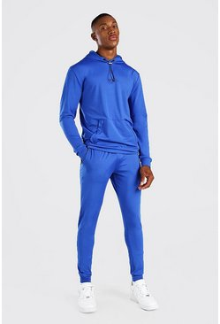 Cobalt blue MAN Muscle Fit Poly Hooded Tracksuit With Zips
