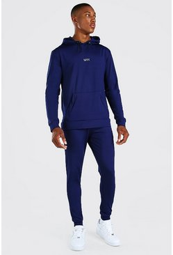 Navy MAN Muscle Fit Poly Hooded Tracksuit With Zips