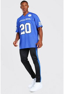 Cobalt blue Loose Fit Official MAN Football Top And Jogger