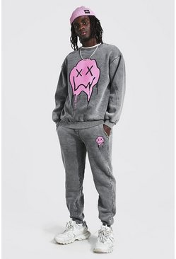 Charcoal grey Loose Fit Acid Wash Drip Face Sweater Tracksuit