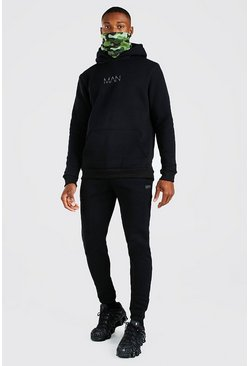 Original MAN Camo Snood Tracksuit, Black negro