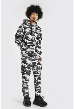 Dark grey grey MAN Loose Fit Camo Cargo Hooded Tracksuit