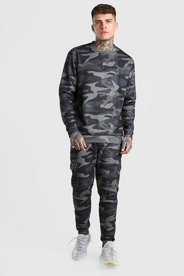 Khaki MAN Loose Fit Camo Cargo Sweater Tracksuit