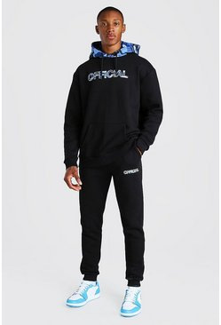 Blue Oversized Official Tracksuit With Camo Print Hood