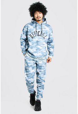 Light blue blue Loose Fit Official Embroidered Camo Tracksuit