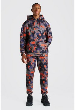 Orange Loose Fit Official Embroidered Camo Tracksuit