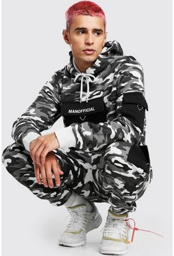 Charcoal grey Official Camo Utility Cargo Hooded Tracksuit