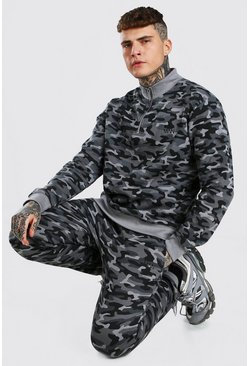 Charcoal grey MAN Dash Half Zip Camo Tracksuit