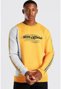 Mustard yellow MAN Official Spliced Tape Detail Sweater