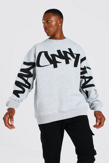 Grey Official MAN Graffiti Oversized Sweater