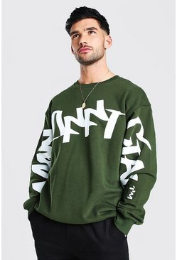 Khaki Official MAN Graffiti Oversized Sweater
