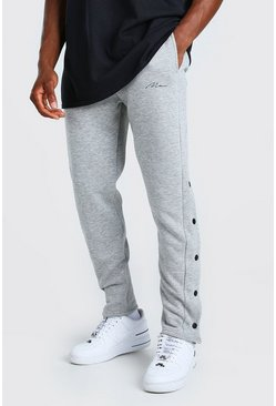 Grey marl grey MAN Signature Slim Fit Popper Joggers