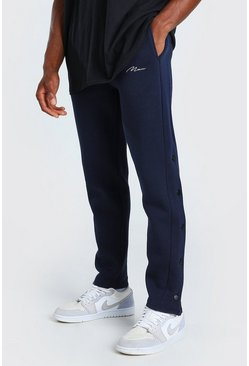 Navy MAN Signature Slim Fit Popper Joggers