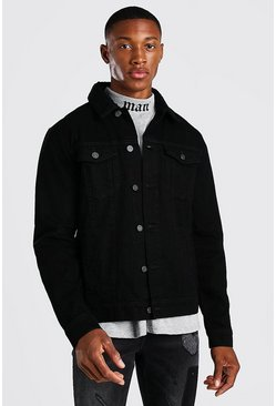Regular Denim Jacket With Black Borg Collar