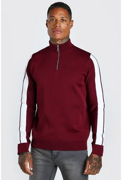 Burgundy red Knitted Half Zip Jumper With Stripe Detail