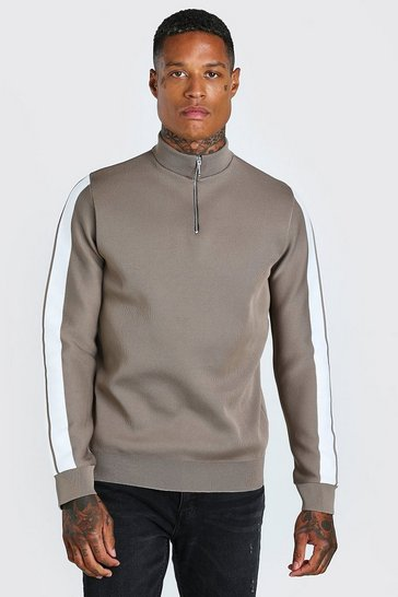 Taupe beige Knitted Half Zip Jumper With Stripe Detail
