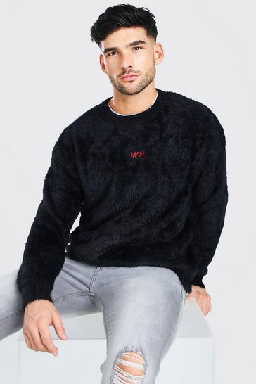 Black MAN Dash Fluffy Knitted Crew Neck Jumper