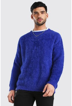Cobalt blue MAN Dash Fluffy Knitted Crew Neck Jumper