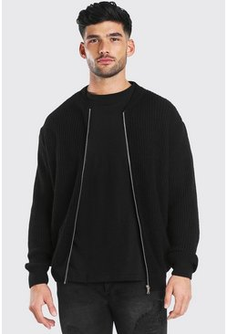 Black Chunky Knitted Ribbed Bomber