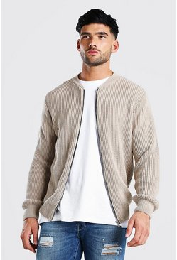 Stone beige Chunky Knitted Ribbed Bomber