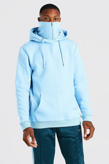 Pale blue blue Official MAN Zip Snood Hoodie