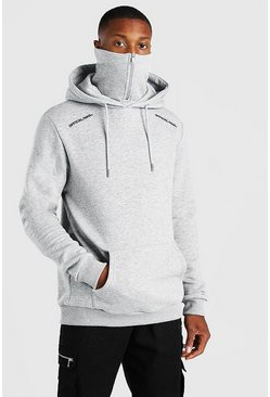 Grey marl grey Official MAN Zip Snood Hoodie