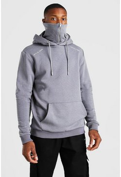 Charcoal grey Official MAN Zip Snood Hoodie
