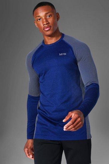 Navy Man Active Seamless Long Sleeve Top