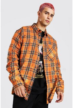 Orange Long Sleeve Oversized Bleached Hem Check Shirt