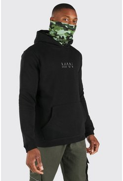 Black svart MAN Official Camo Snood Hoodie