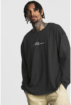 Oversized Long Sleeve MAN Signature T-Shirt, Black noir