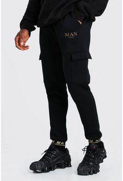 Black MAN Skinny Fit Cargo Joggers With Taped Cuff
