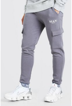 Slate grey MAN Skinny Fit Cargo Joggers With Taped Cuff