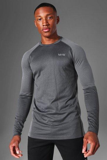 Charcoal grey Man Active Seamless Long Sleeve Top