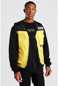 Yellow Man Dash Colourblock Utility Hemd